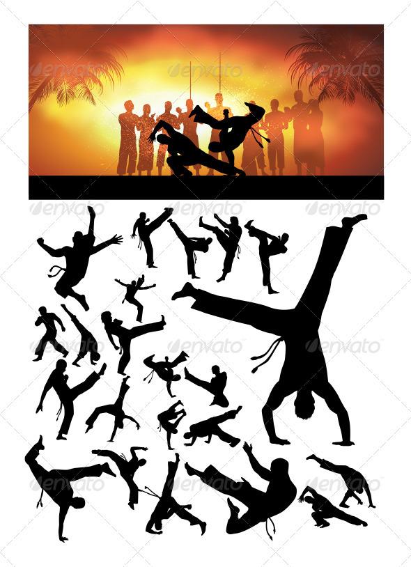 GraphicRiver Capoiera Silhouettes 3727257