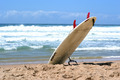 White Surfboard With It's Nose Buried In the Sand - PhotoDune Item for Sale