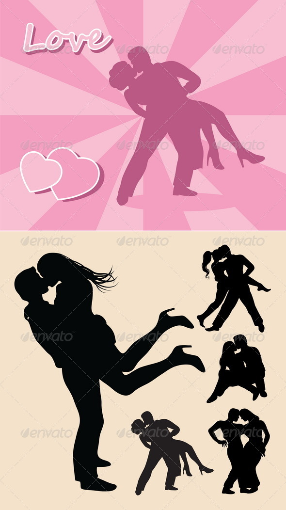 Romantic Love Couple Silhouettes - People Characters
