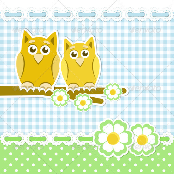 GraphicRiver Romantic Background With Owls 3729233