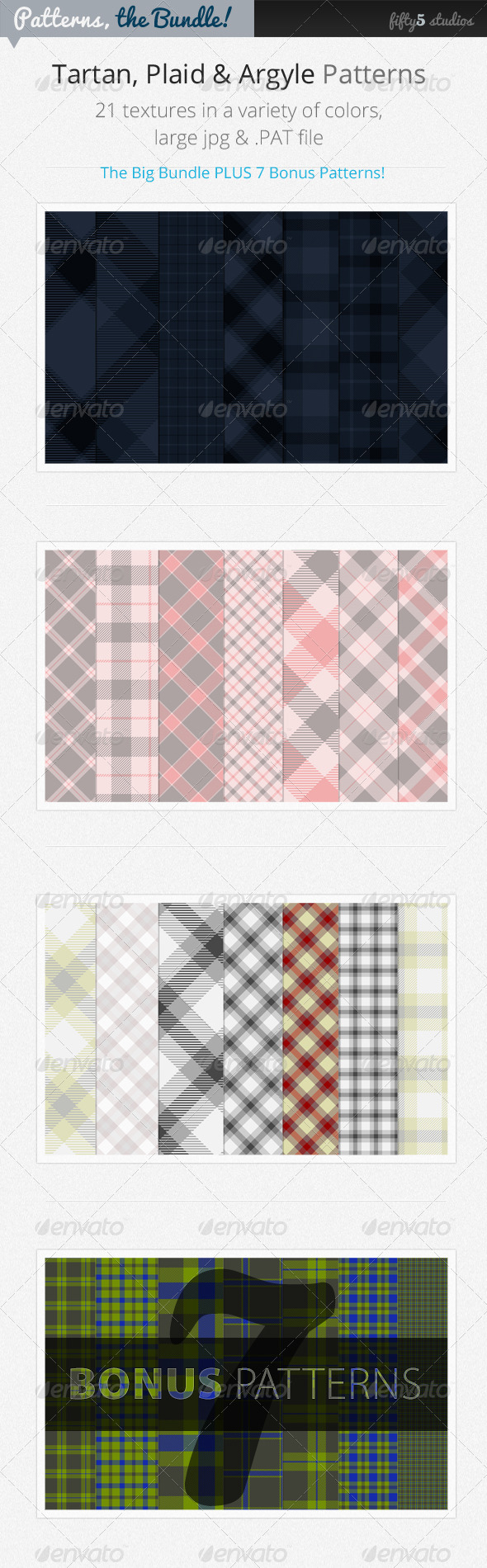 GraphicRiver The Bundle 28 Tartan Plaid & Arglye Patterns 3729546