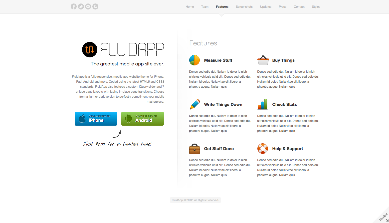 FluidApp - Responsive Mobile App WordPress Theme - Features - List all of your app's features in a tightly laid out grid with colorful eye-catching icons