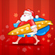 Santa with surfboard - GraphicRiver Item for Sale