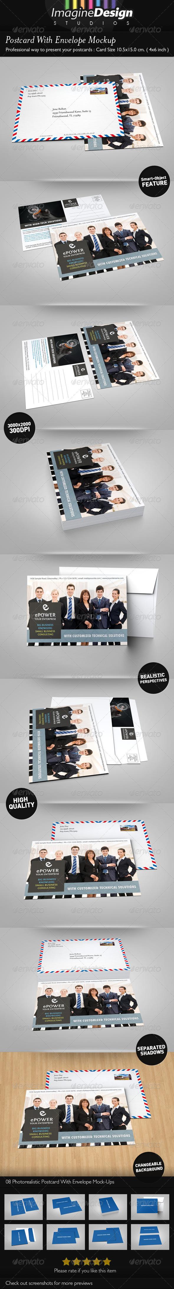 GraphicRiver Postcard With Envelope Mockup 3703806