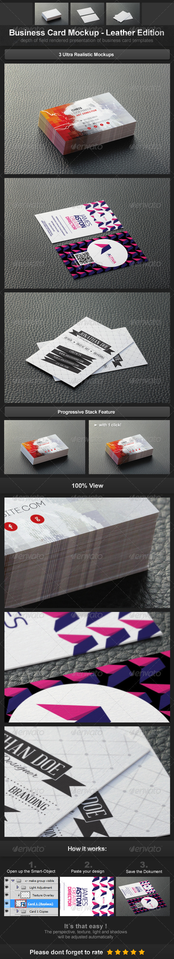 GraphicRiver Business Card Mockup Leather Edition 3730808