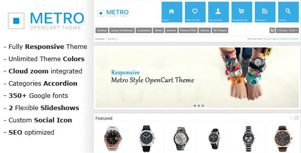 ThemeForest Metro Multi-Purpose Responsive OpenCart Theme 3708763