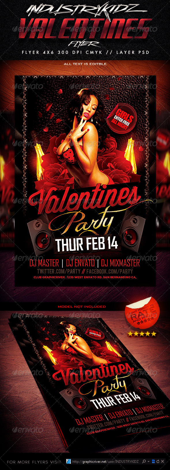 GraphicRiver Valentines Party Flyer 3730918