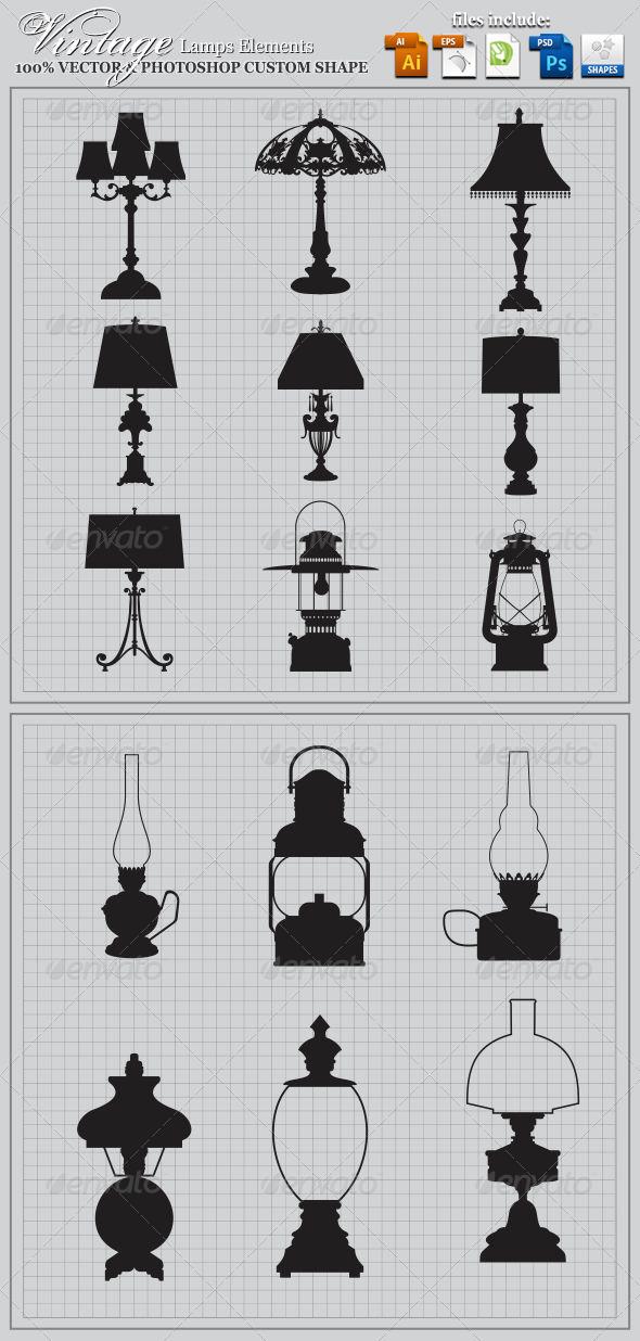 GraphicRiver Vintage Lamps Elements 3731143