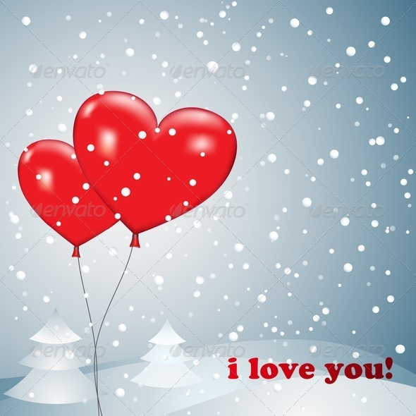 GraphicRiver Balloons Heart With Snow 3731626