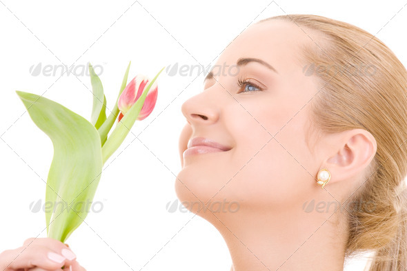 happy woman with flower - Stock Photo - Images