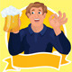 Man with beer ribbon vector - GraphicRiver Item for Sale