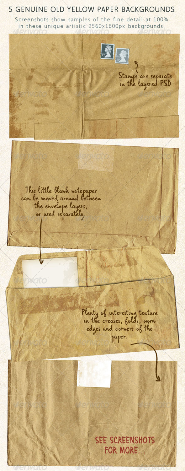 GraphicRiver 5 Old Brown Stationery Papers Aged & Stained 3732886