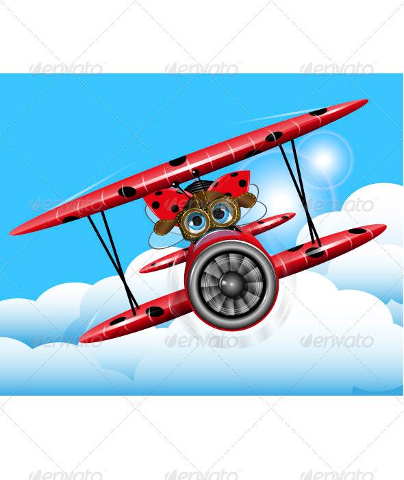 GraphicRiver ladybug on a plane 3736766