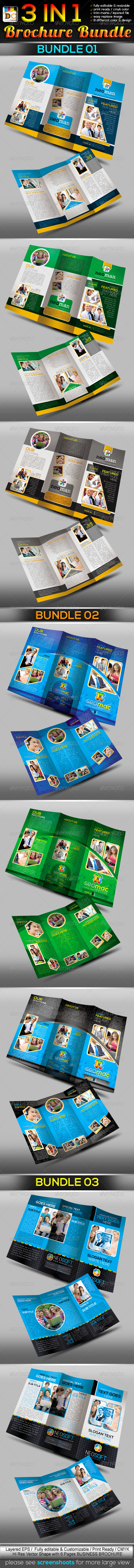 3 in 1: Corporate Tri-fold Business Brochure Bundl - Corporate Brochures