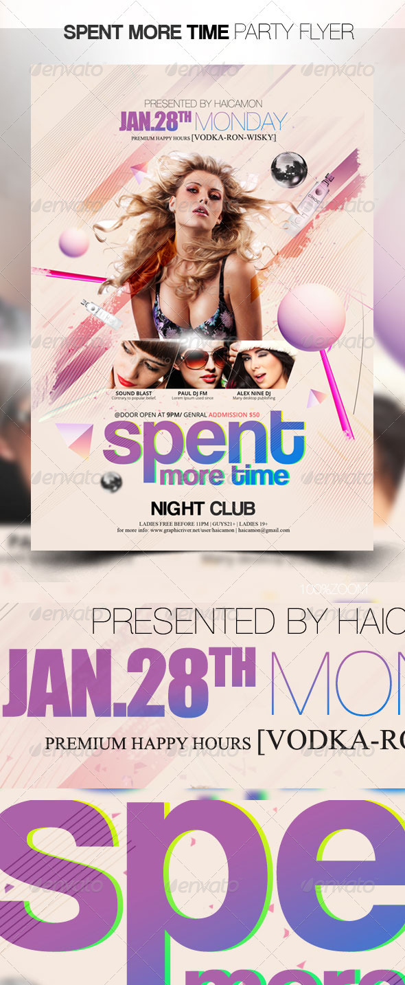 GraphicRiver Spent More Time Party Flyer 3737542