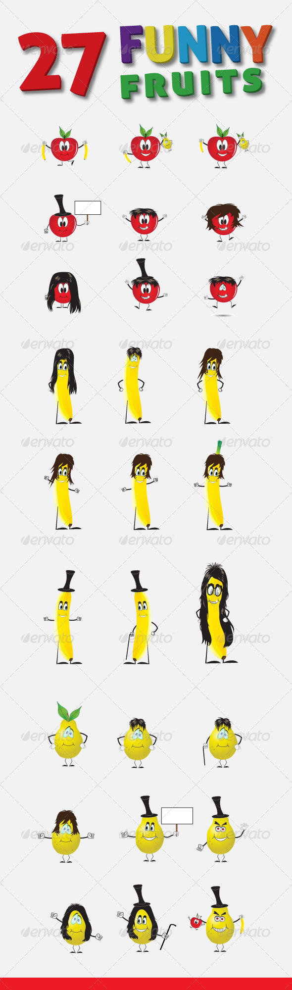 27 Funny Fruits Vector Characters