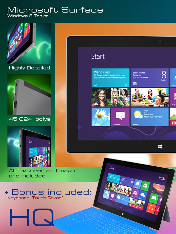 Windows 8 Tablet Microsoft Surface & Touch Cover