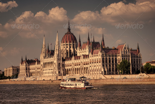 The Hungarian parliament, Budapest - Stock Photo - Images