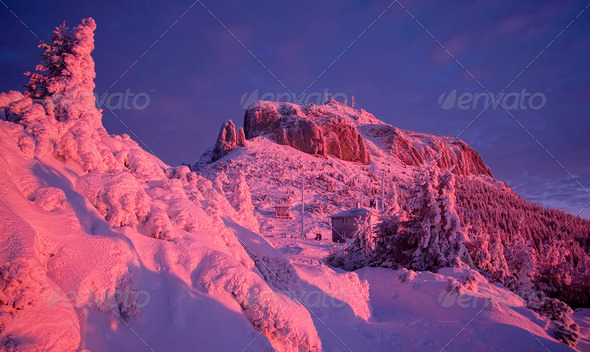 winter mountain sunset - Stock Photo - Images