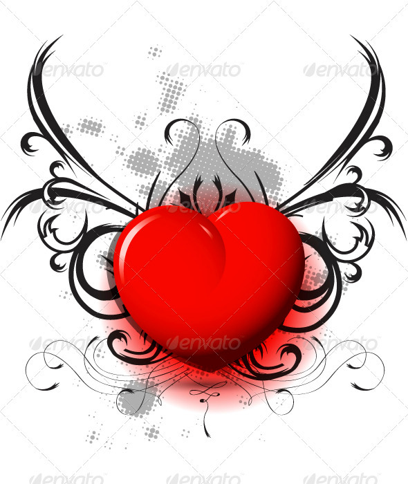 GraphicRiver red heart on black pattern 3738237
