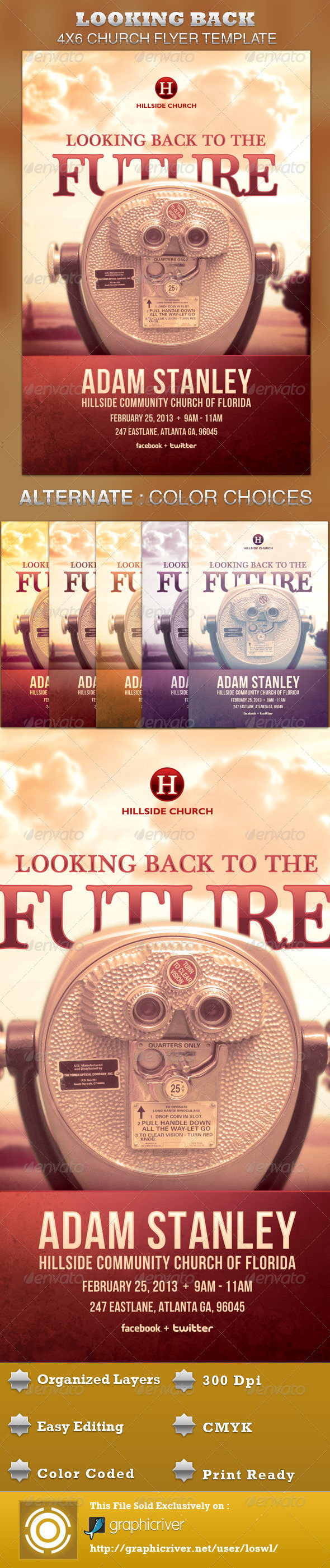 Looking Back to the Future Church Flyer Template - Church Flyers