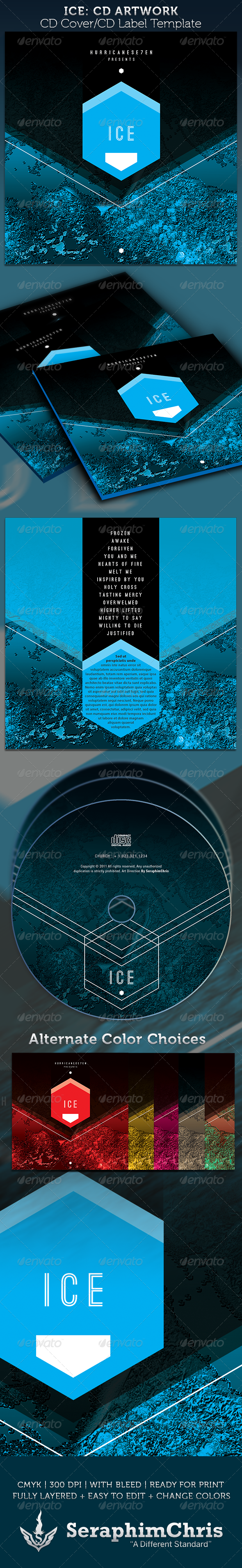 ICE CD Cover Artwork Template - CD & DVD Artwork Print Templates
