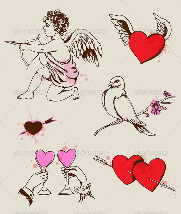 GraphicRiver Hand Drawn Valentine s Elements 3738671
