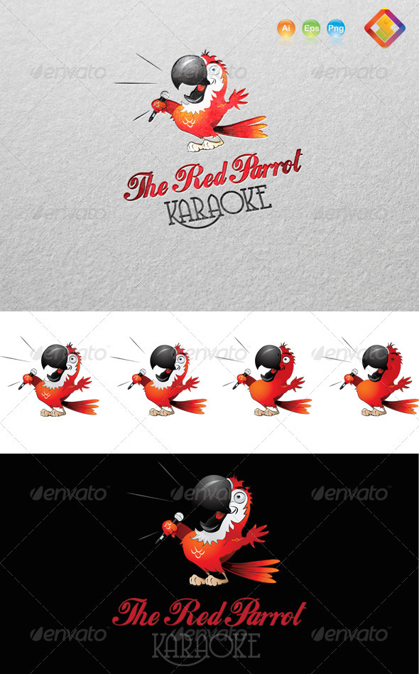 Red Parrot Karaoke Logo - Animals Logo Templates