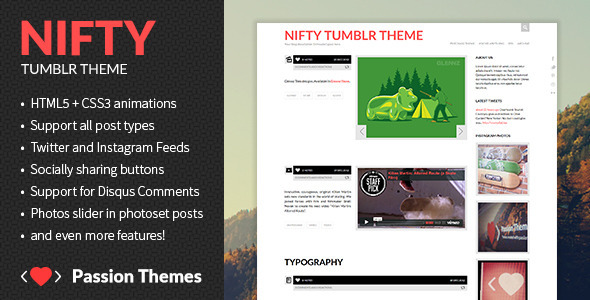 ThemeForest NIFTY Clean Tumblr Theme 3740122