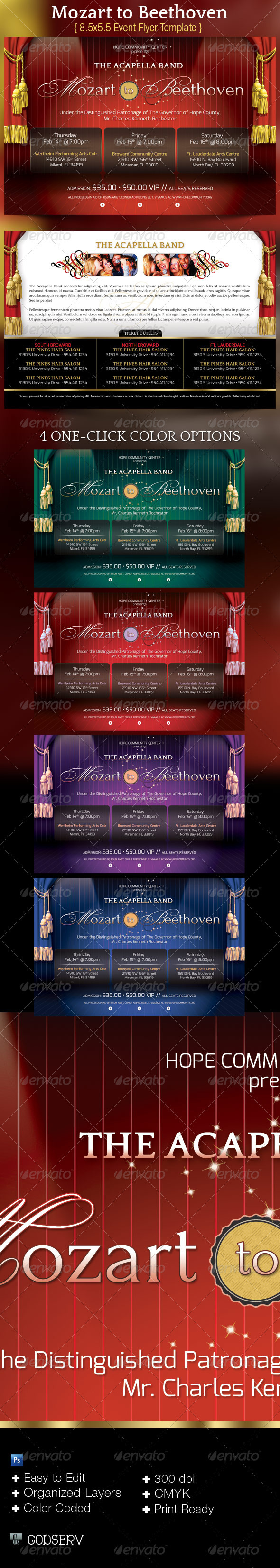 Mozart to Beethoven Concert Flyer Template - Concerts Events