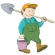 Man Gardener with Bucket and Shovel - GraphicRiver Item for Sale