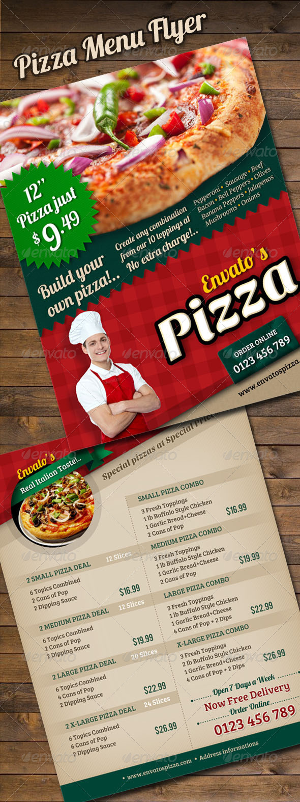 Pizza Menu Flyer - Restaurant Flyers