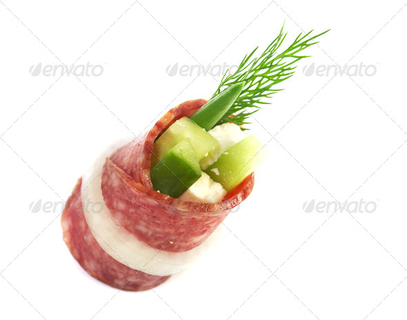 PhotoDune Canape platter with salami 3743642