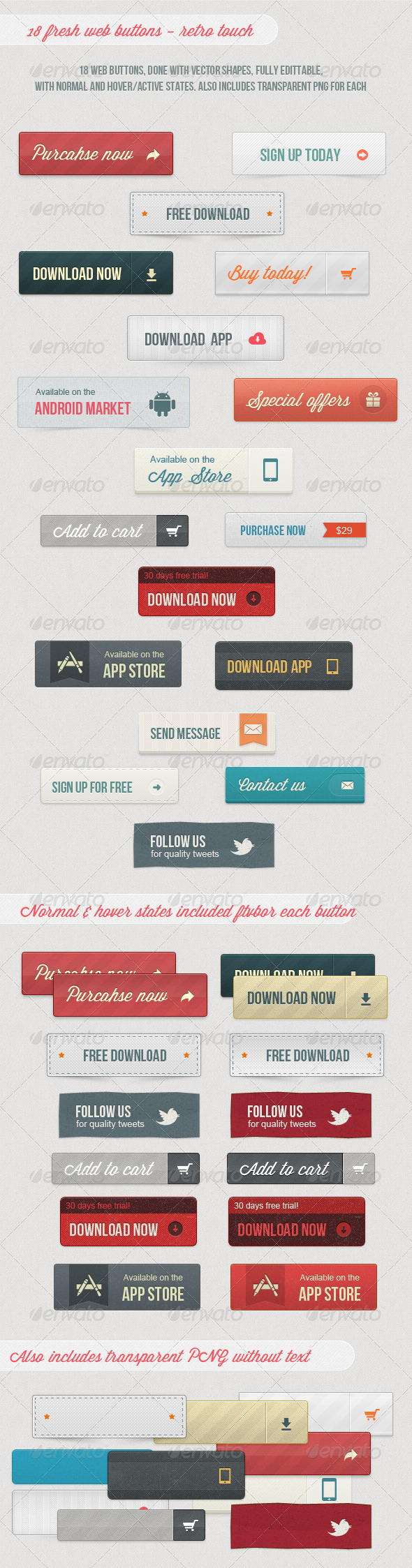 GraphicRiver 18 Fresh Web Buttons Retro Touch 3743807
