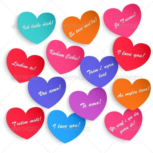 Set Of Paper Hearts - Valentines Seasons/Holidays