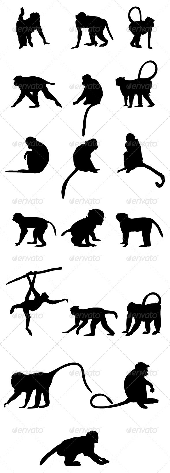 GraphicRiver Monkey Silhouettes 3744430