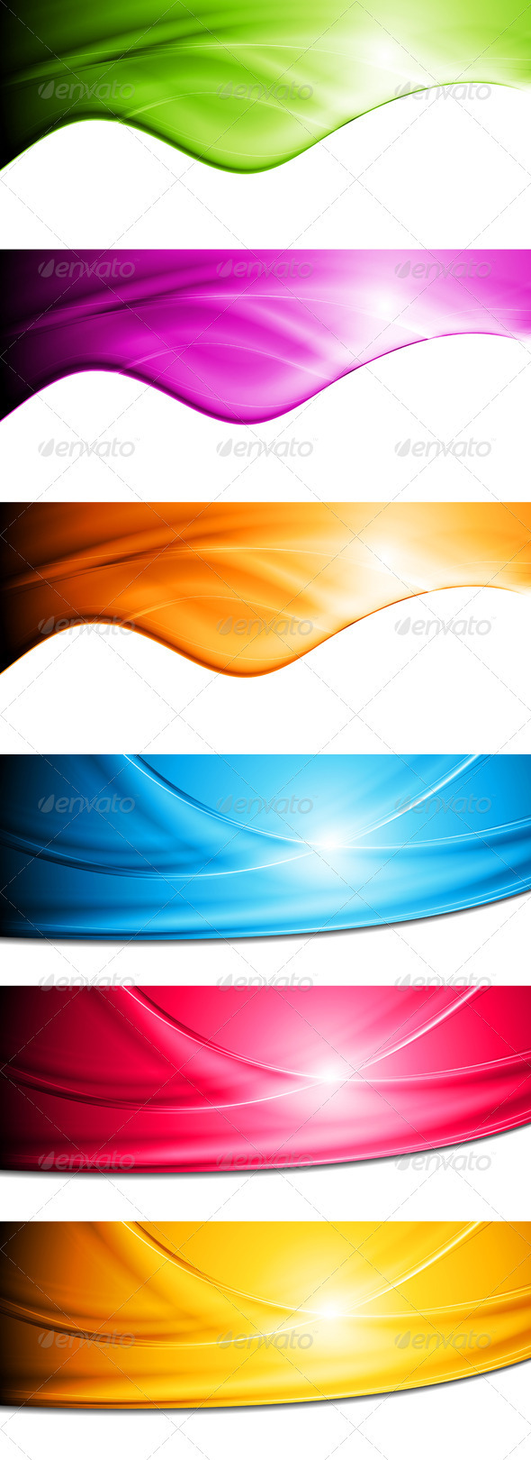 GraphicRiver Bright vector waves banners 3744807
