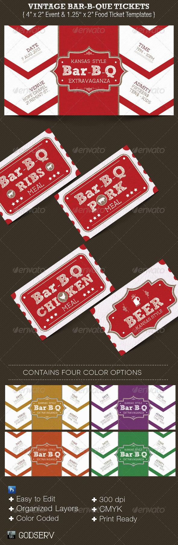GraphicRiver Vintage Bar-B-Que Ticket Template Set 3692696