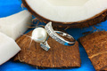 Ring with pearl on coconut - PhotoDune Item for Sale