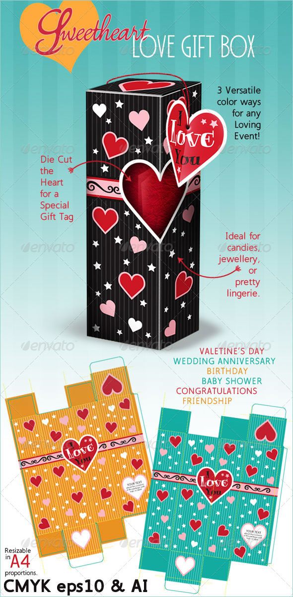 Gift Box: Love on Valentine's Day or Birthday - Packaging Print Templates