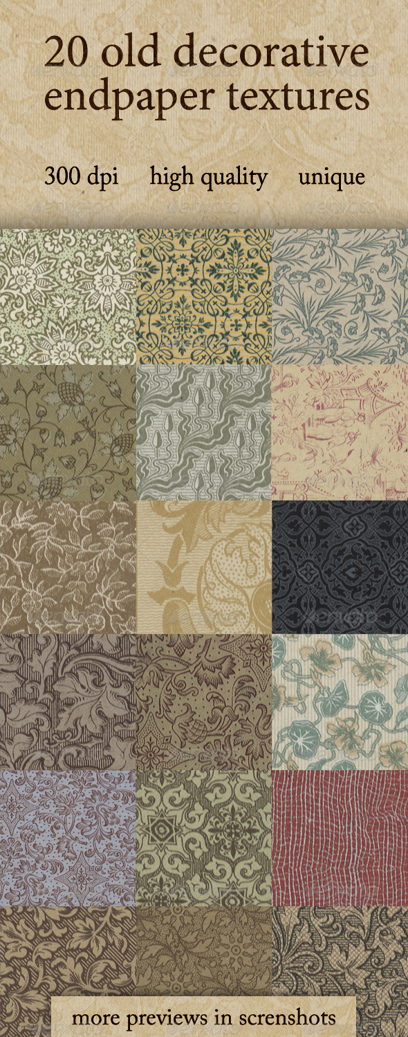 20 Old Decorative Endpaper Textures