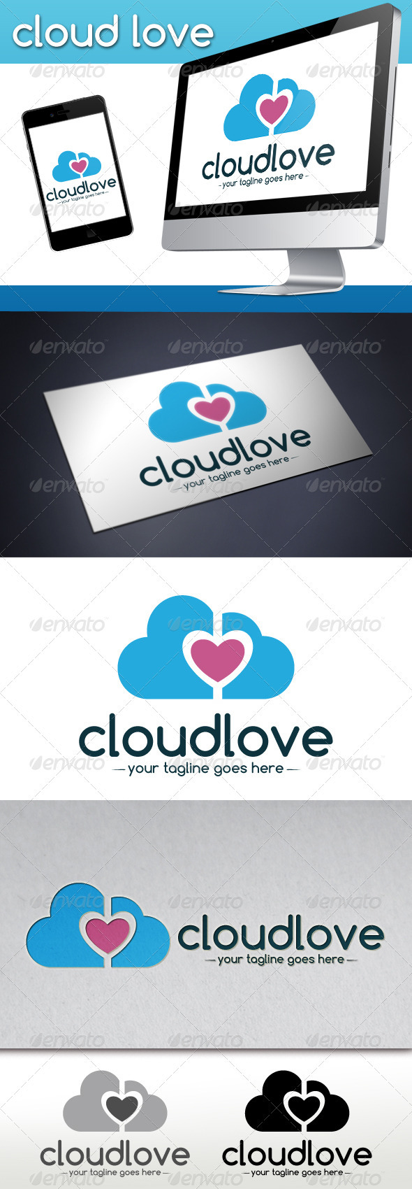 GraphicRiver Cloud Love Logo Template 3747351