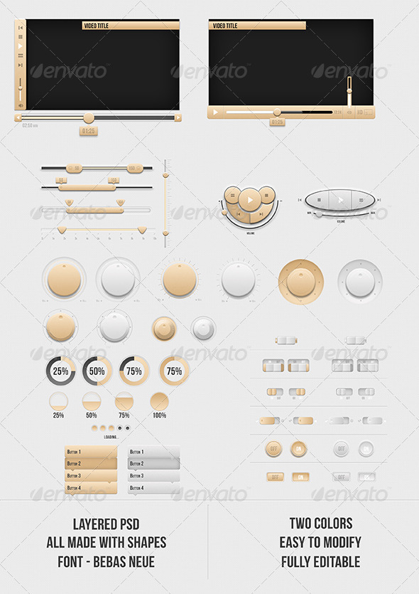 GraphicRiver Orange and Light UI Buttons 3748454