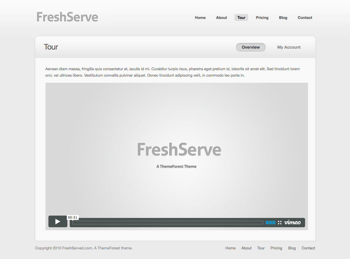 FreshServe - A Web App / SaaS Wordpress Theme - Tour Page: Easy embeddable screencast tour of your product