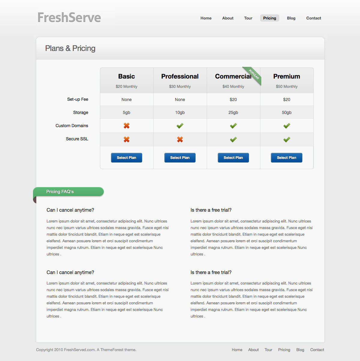 FreshServe - A Web App / SaaS Wordpress Theme - Pricing Page: Pure HTML/CSS price table for easy configuration