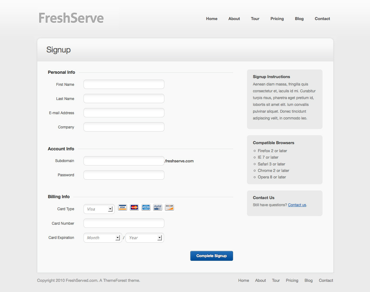 FreshServe - A Web App / SaaS Wordpress Theme - Signup Page: Fully coded signup form with javascript validation