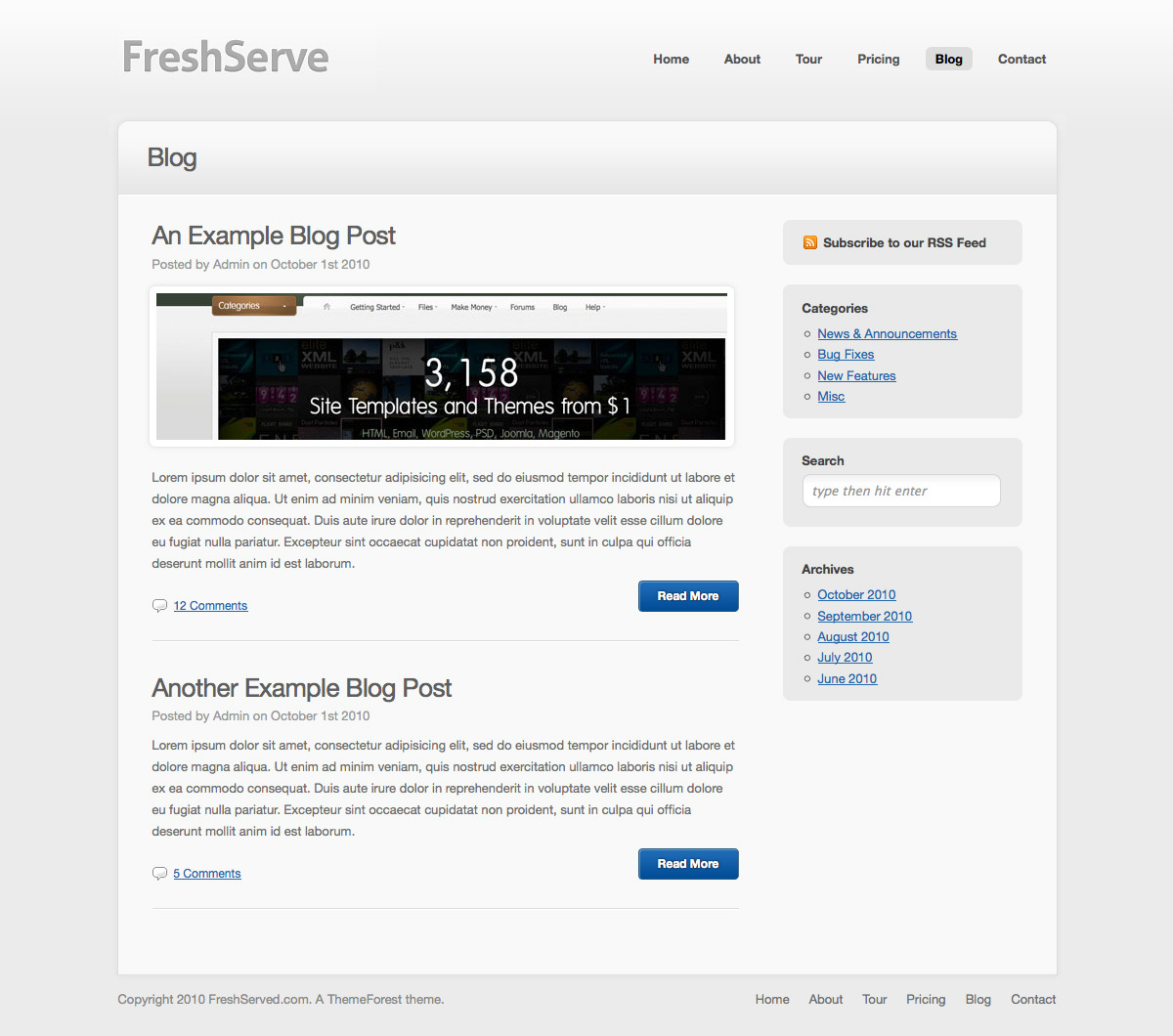 FreshServe - A Web App / SaaS Wordpress Theme - Blog page