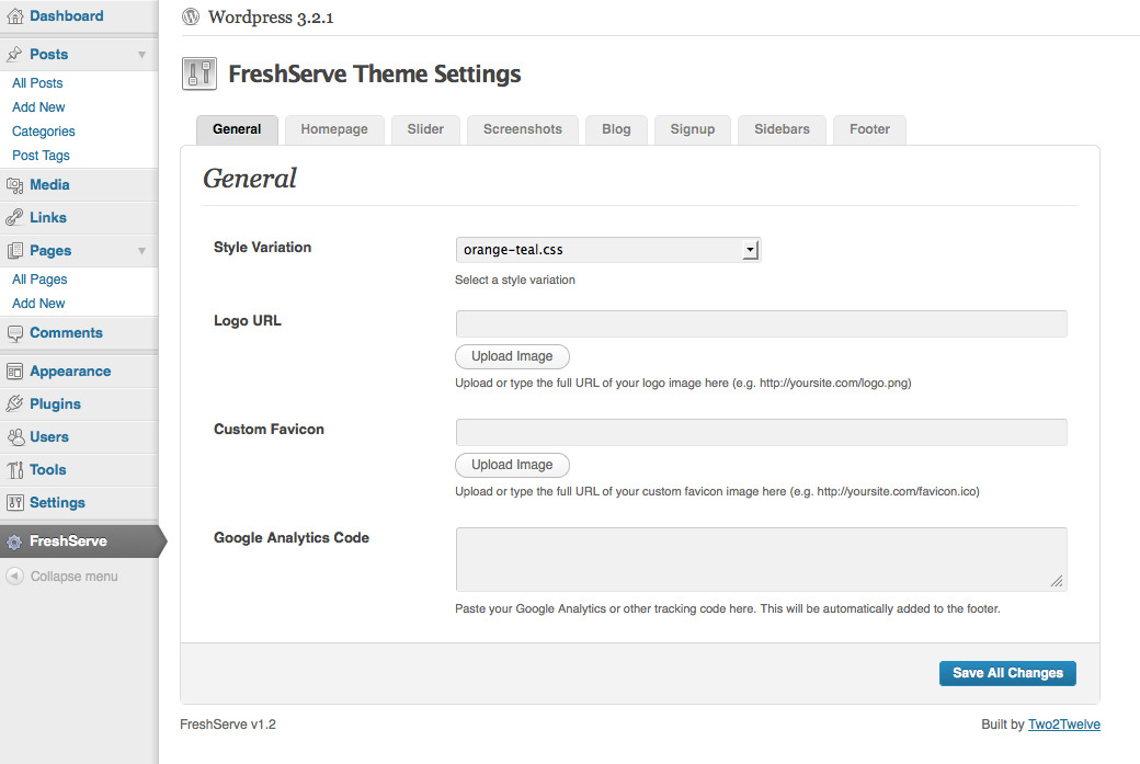 FreshServe - A Web App / SaaS Wordpress Theme - The Extensive, Custom Admin Panel For FreshServe