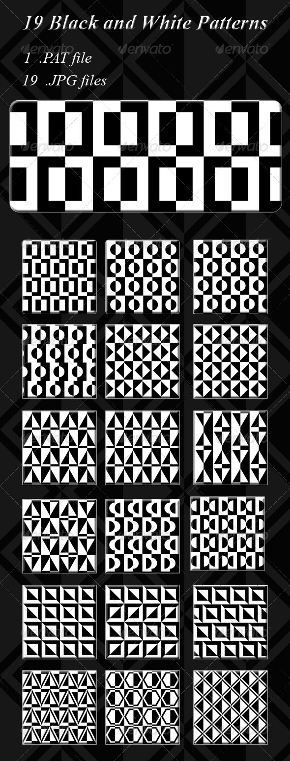 GraphicRiver 19 Seamless Black and White Patterns 3749859