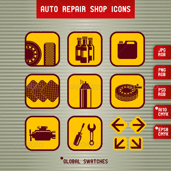 GraphicRiver Auto Repair Shop Icons 3749981